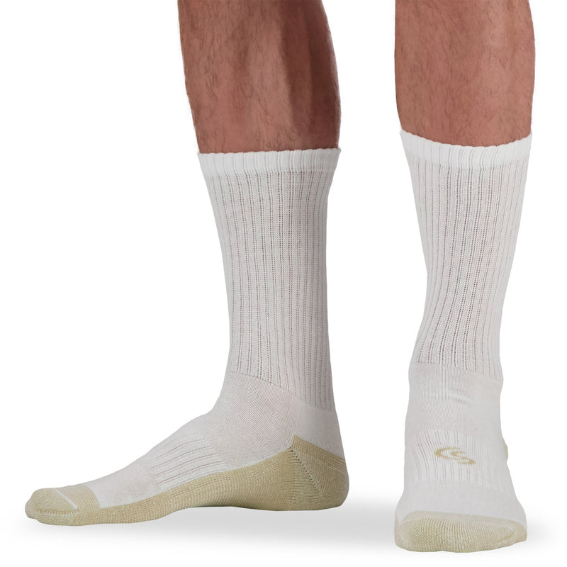 Men's Cotton Blend Athletic/Sport Crew Socks with Moisture Wicking and Odor Protection (4-Pack) - White