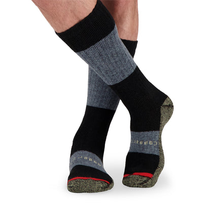 key features Men's Wool Blend Thermal Work Socks with Odor Protection (2-Pack) - Black/Charcoal