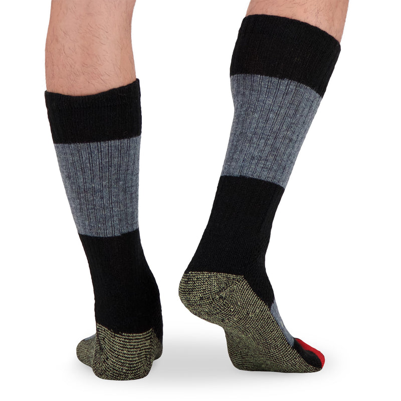 Men's Wool Blend Thermal Work Socks with Odor Protection (2-Pack) - Black/Charcoal