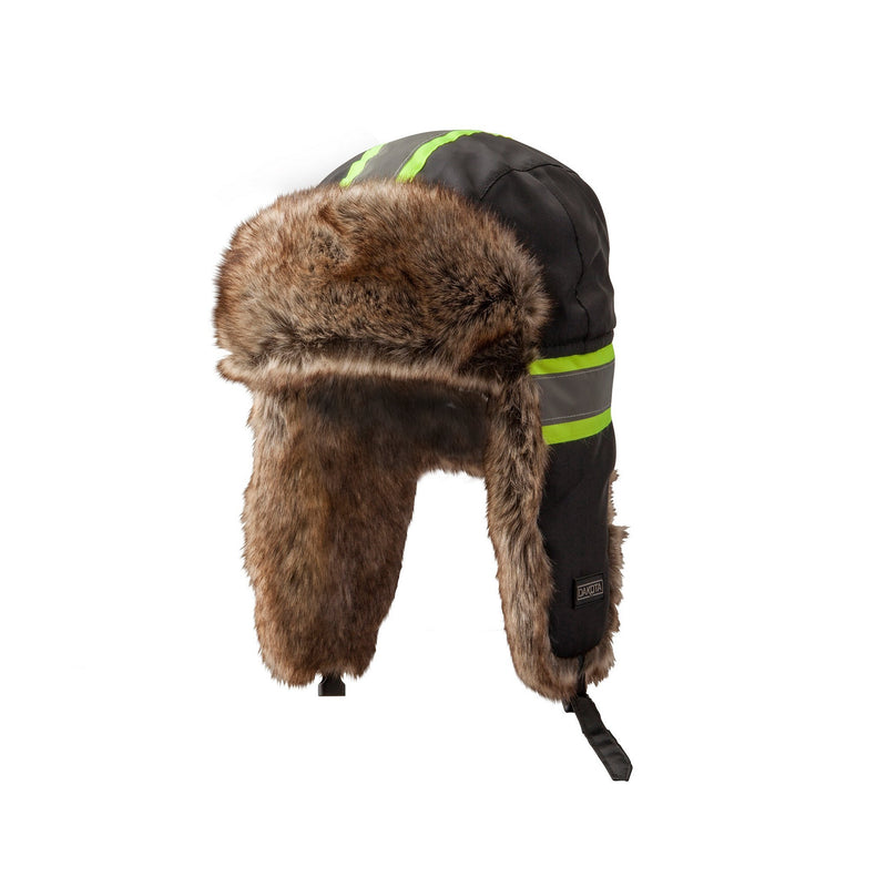 Hi-Visibility Fur Aviator Hat, Cold Weather Performace - Black