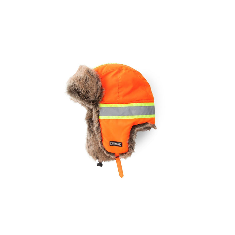 Hi-Visibility Fur Aviator Hat, Cold Weather Performance - Orange