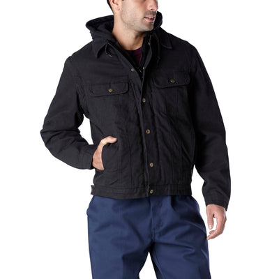 key features Men's 2-In-1 Convertible Sherpa Lined Casual Canvas Work Jacket And Vest With Adjustable Hood - Black