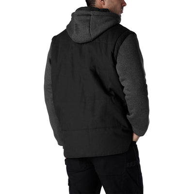 key features Men's 2 In 1 Convertible Cotton Work Jacket And Vest with Zip Off Fleece Sleeves and Hoodie Detail - Black/Charcoal