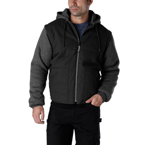 Men's 2-in-1 Insulated Convertible work jacket & vest - Black/Charcoal