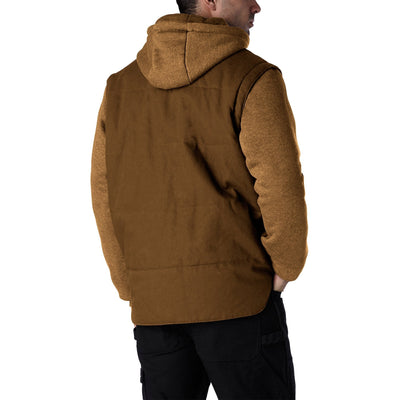 key features Men's 2 In 1 Convertible Cotton Work Jacket And Vest with Zip Off Fleece Sleeves and Hoodie Detail - Brown/Chestnut