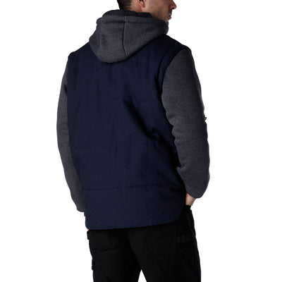 key features Men's 2 In 1 Convertible Cotton Work Jacket And Vest with Zip Off Fleece Sleeves and Hoodie Detail - Navy/Charcoal