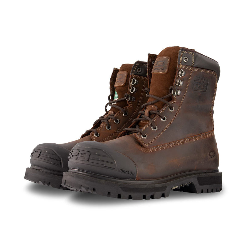 Men's 529 8 Inch Industrial Safety Work Boots Steel Toe Plated - Dark Brown