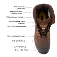 Men's 529 8 Inch Leather Safety Work Boots Steel Toe Plated and Insulated with Anti-Slip Soles - Dark Brown