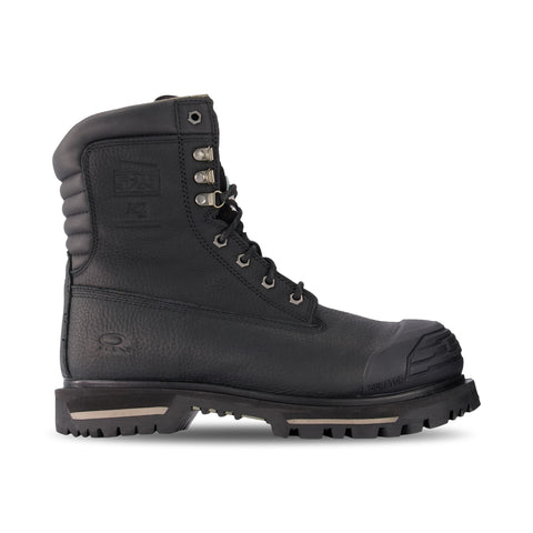 Men's 529 8 Inch Insulated Waterproof Leather Safety Work Boots Steel Toe Plated - Black