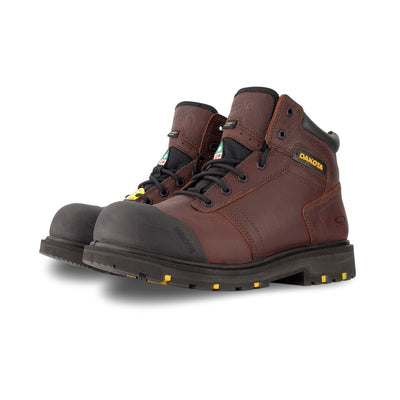 key features Men's 6002 6 Inch Leather Work Boot Steel Toe Plated - Dark Brown