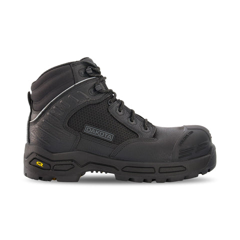 Men's 6410 6 Inch Insulated Leather Safety Work Boots Composite Toe Plated With Anti-Slip Soles - Black