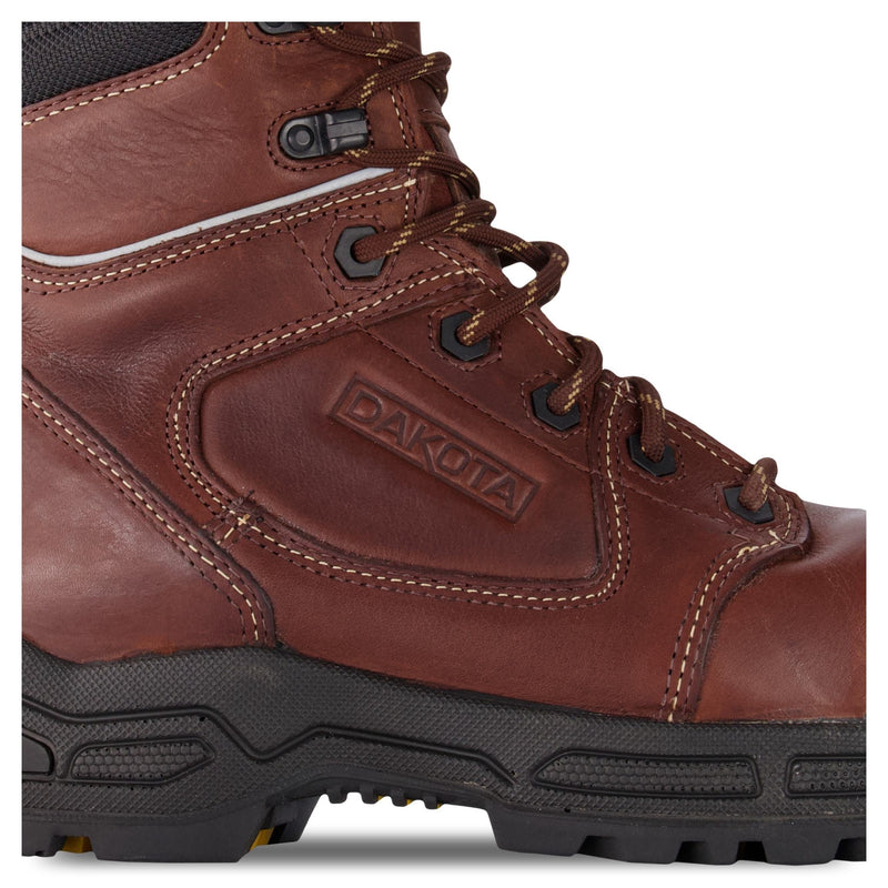 Men's 8410 8 Inch Insulated Leather Safety Work Boots Composite Toe Plated With Anti-Slip Soles - Brown