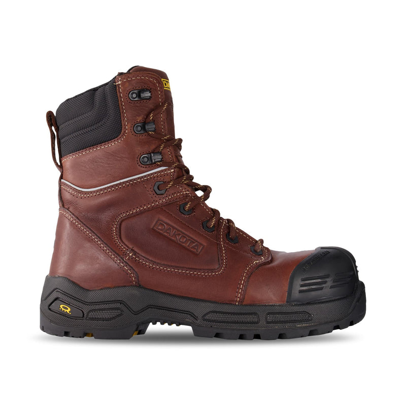 Men's 8 Inch 8410 Injected Safety Work Boots Composite Toe Plated - Brown