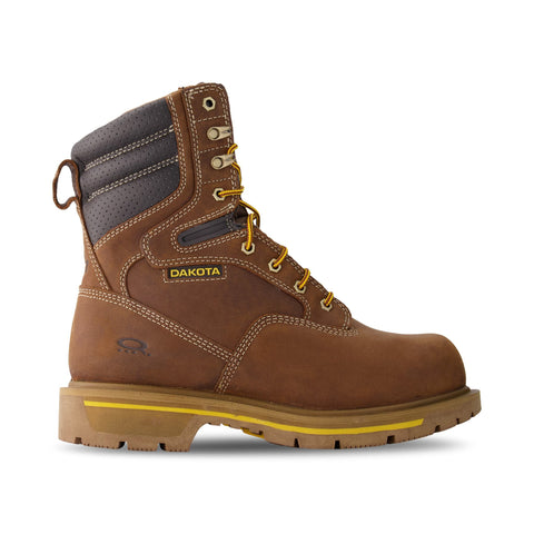 Men's 8517 8 Inch Insulated Leather Safety Work Boots Steel Toe Composite Plated With Anti-Slip Soles - Brown