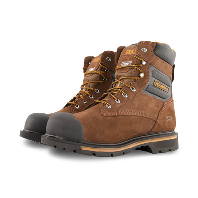 key features Men's 8537 Quad Comfort 8 Inch Safety Work Boots Aluminum Toe Composite Plated and Insulated in Leather with Anti-slip Soles - Brown
