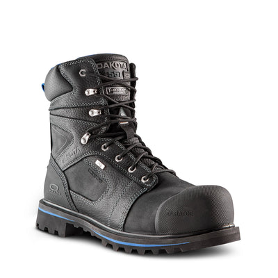 key features Men's 8557 8 Inch Leather Safety Work Boots Steel Toe Composite Plated Waterproof and Insulated - Black