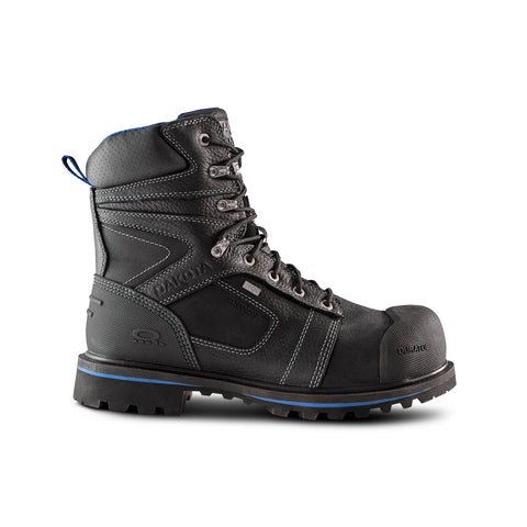 Men's 8557 8 Inch Insulated Waterproof Leather Safety Work Boots Steel Toe Composite Plated - Black