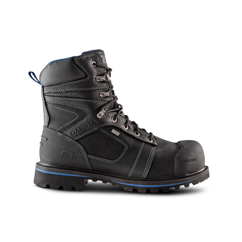 Men's 8557 8 Inch Leather Safety Work Boots Steel Toe Composite Plated Waterproof and Insulated - Black