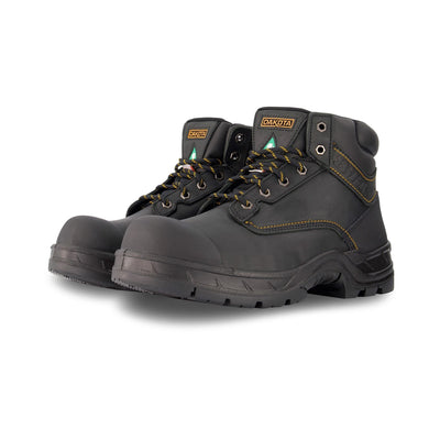 key features Men's 877 6 Inch Insulated Leather Safety Work Boots Steel Toe Plated with Anti-Slip Soles - Black