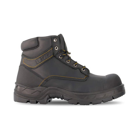 Men's 877 6 Inch Insulated Leather Safety Work Boots Steel Toe Plated with Anti-Slip Soles - Black