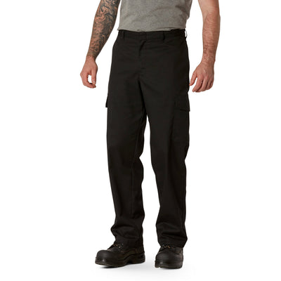 key features Men's Cargo Style Work Pants in Stretch Cotton Blend with Stain Resistant Finish - Black