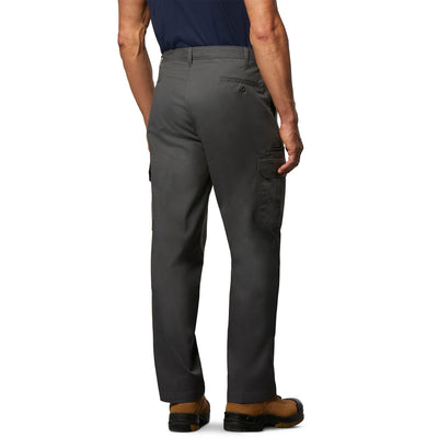 key features Men's Cargo Style Work Pants in Stretch Cotton Blend with Stain Resistant Finish - Charcoal