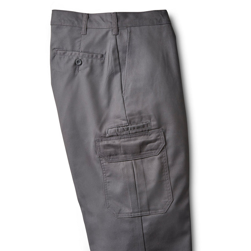 Men's Cargo Style Work Pants in Stretch Cotton Blend with Stain Resistant Finish - Charcoal