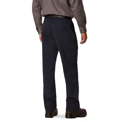 key features Men's Cargo Style Work Pants in Stretch Cotton Blend with Stain Resistant Finish - Navy