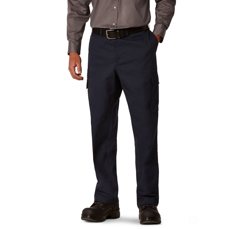 Men's Cargo Style Work Pants in Stretch Cotton Blend with Stain Resistant Finish - Navy