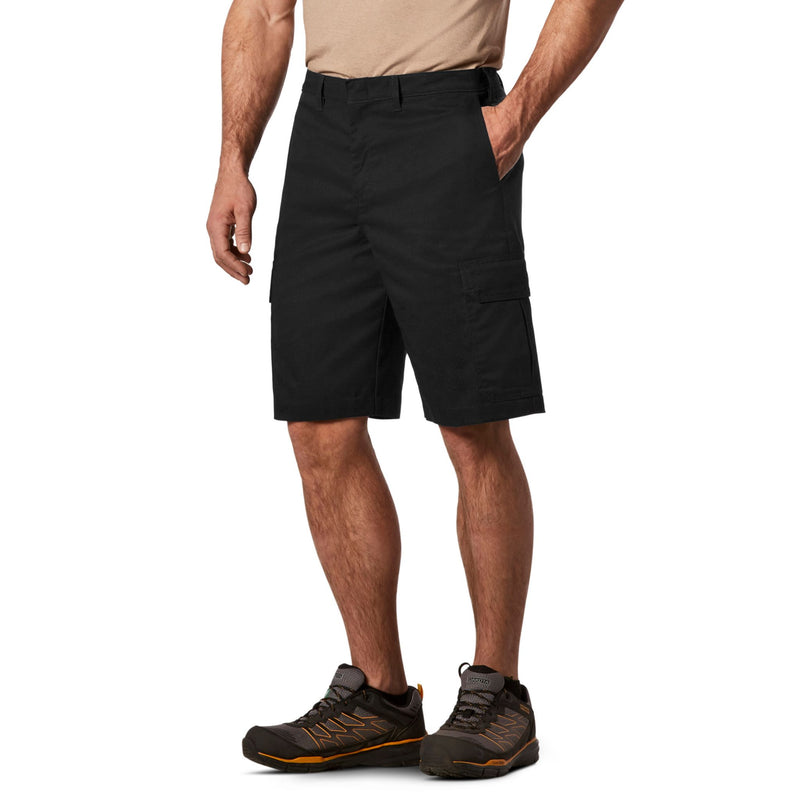 Men's Cargo Style Work Shorts in Stretch Cotton Blend with Stain Resistant Finish - Black