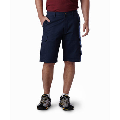 key features Men's Cargo Style Work Shorts in Stretch Cotton Twill - Navy