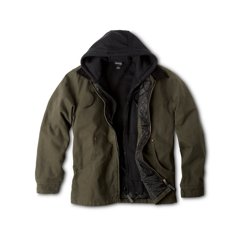 Men's Convertible 3 In 1 Cotton Jacket With Durable Washed Canvas - Moss
