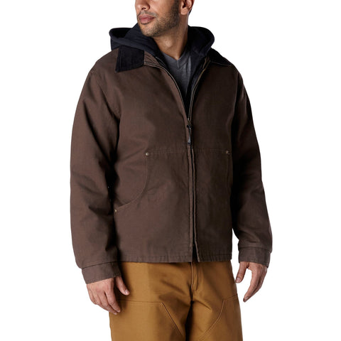 Men's Convertible 3 In 1 Work Jacket With Durable Canvas & Soft Cotton - Chestnut