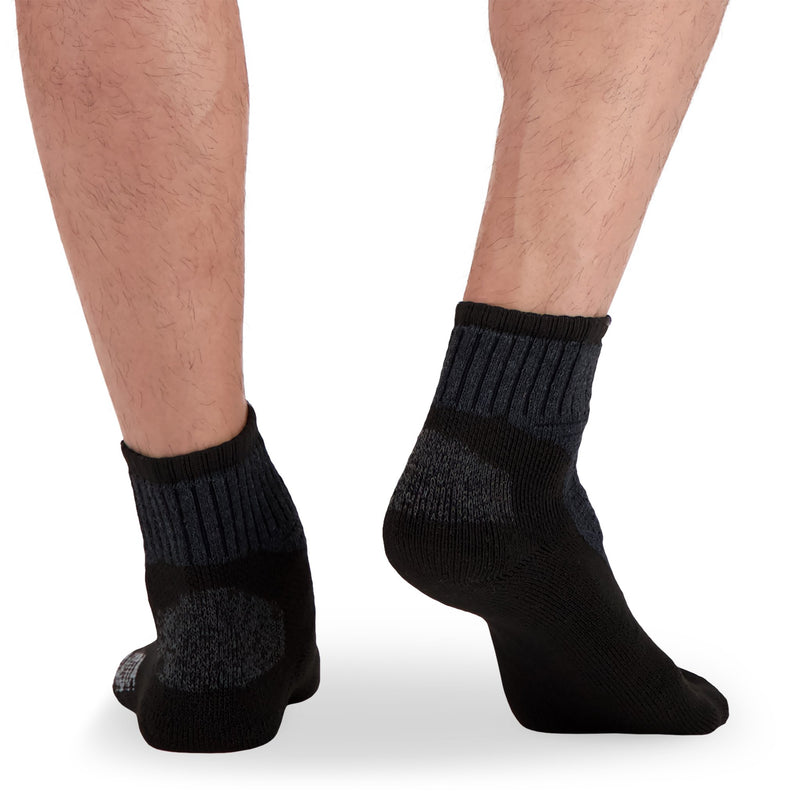 Men's Cotton Blend Ankle Crew Work Socks with Moisture Wicking and Odor Protection (2-Pack) - Gray Melanage/Black