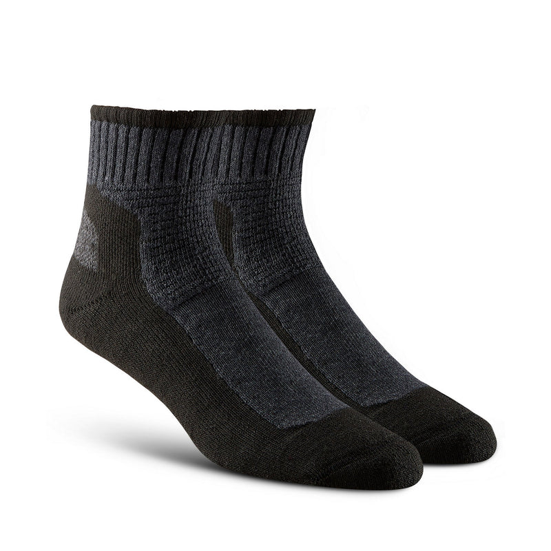 Men's 2-Pack Crew Work Sock, Cotton Blend With Odor Control- Black/Grey