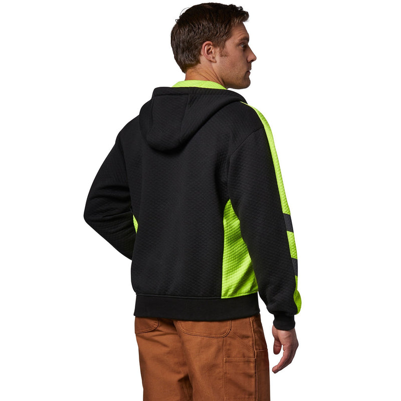 Men's Cotton Micro-Quilt Full Zip Hoodie - Black/Lime