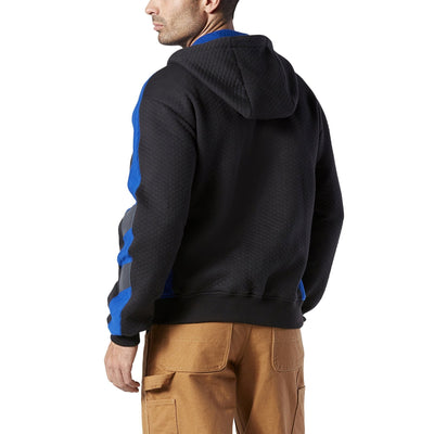 key features Men's Cotton Micro-Quilt Full Zip Hoodie - Black/Royal Blue