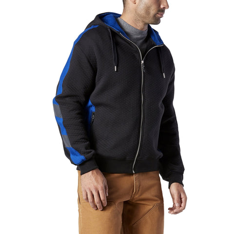 Men's Cotton Micro-Quilt Full Zip Hoodie - Black/Royal Blue