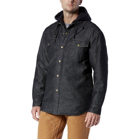 Men's denim hoodie work jacket with durable & soft fabric- Black Denim