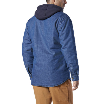 key features Men's Denim Jean Work Shirt Jacket With Thermal Insulated Lining And Fleece Hood - Mid Blue Denim