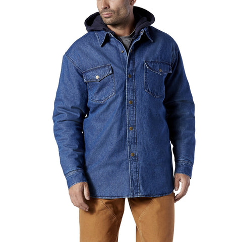Men's denim hoodie work jacket with durable & soft fabric - Blue Denim
