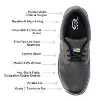 Men's ESD Leather Safety Shoe Aluminum Toe, Lace Up Design- Black