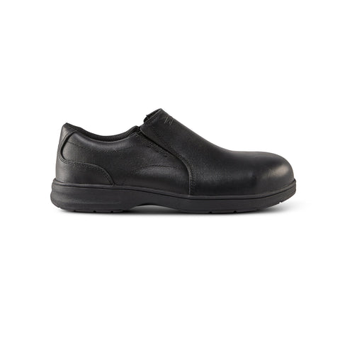 Men's ESD Slip On Leather Safety Work Shoe Aluminum Toe - Black