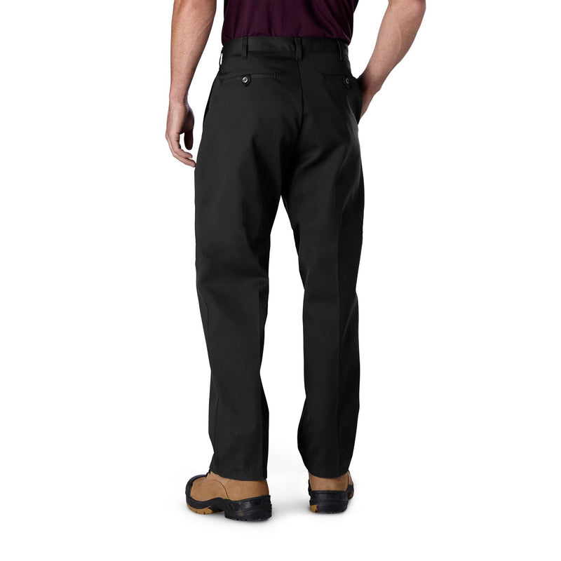 Men's Flat Front Work Pants in Cotton Blend with Stain Resistant Finish - Black