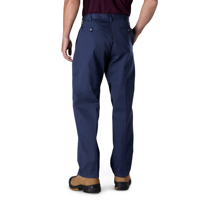 Men's flat front cotton blend work pants with deep double lined pockets  - Navy