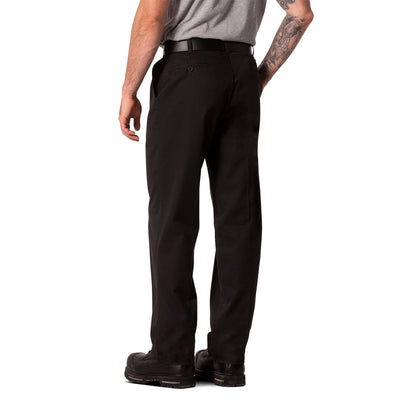key features Men's Flat Front Work Pants in Stretch Cotton Blend with Stain Resistant Finish - Black