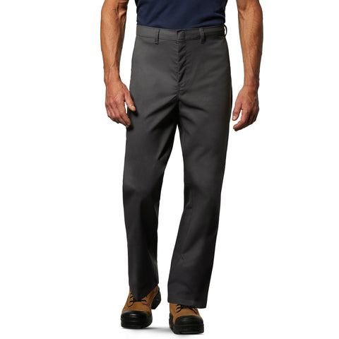 Men's Flat Front Work Pants in Stretch Cotton Blend with Stain Resistant Finish - Charcoal