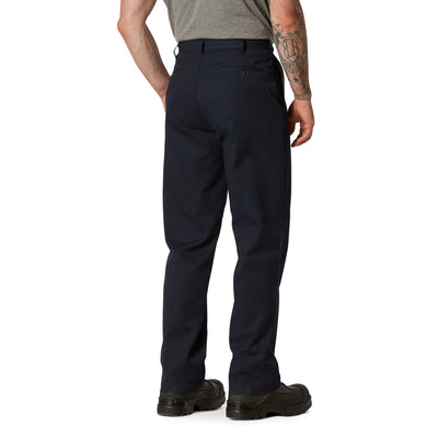 key features Men's Flat Front Work Pants in Stretch Cotton Blend with Stain Resistant Finish - Navy