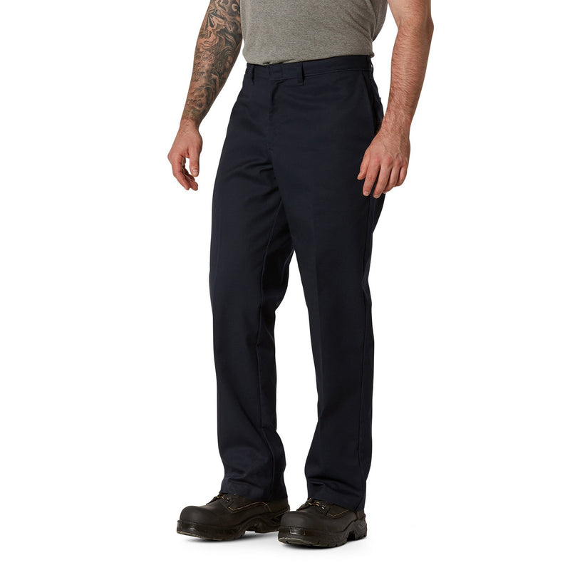 Men's Flat Front Work Pants in Stretch Cotton Blend with Stain Resistant Finish - Navy