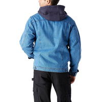 Men's hooded jean work jacket, washed denim & sherpa lined - Blue Denim